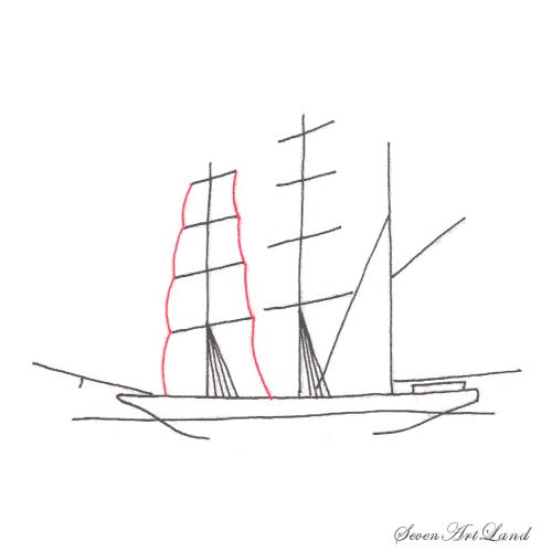 Рисуем парусное судно Бригантина - шаг 4