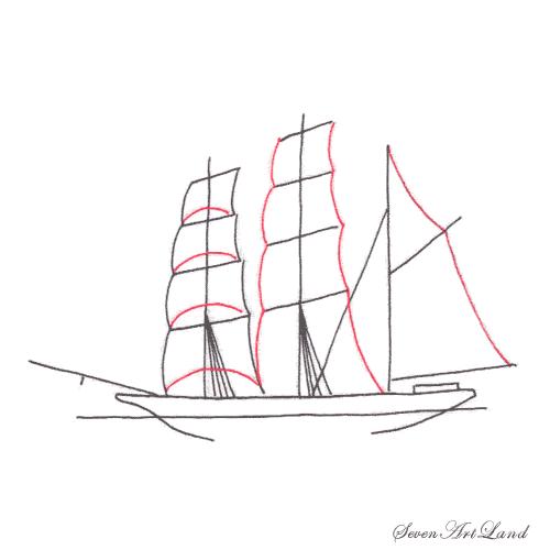 Рисуем парусное судно Бригантина - шаг 5