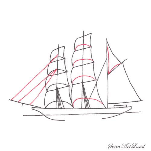 Рисуем парусное судно Бригантина - шаг 6