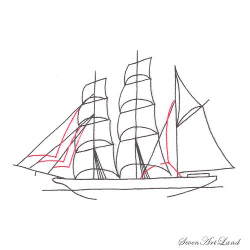Рисуем парусное судно Бригантина - шаг 7