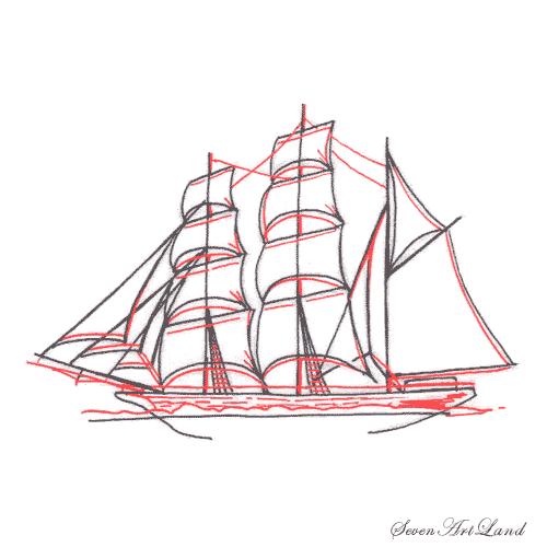Рисуем парусное судно Бригантина - шаг 8