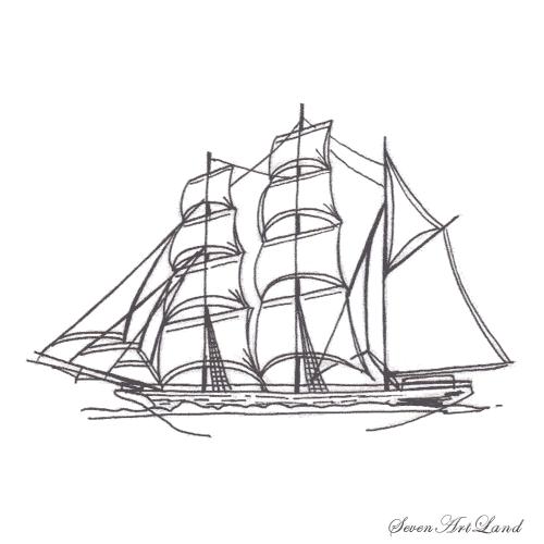 Рисуем парусное судно Бригантина - шаг 9
