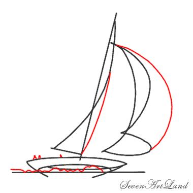 Рисуем парусную яхту - шаг 4