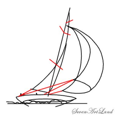 Рисуем парусную яхту - шаг 5