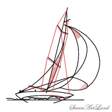 Рисуем парусную яхту - шаг 6