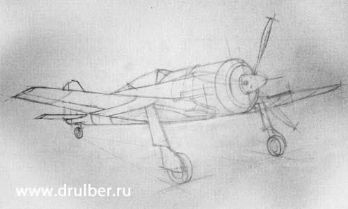 Рисуем самолет Фокке-Вульф-190