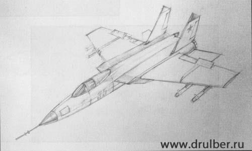 Рисуем самолет МиГ-25