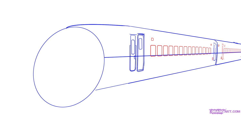 Рисуем скоростной поезд - шаг 4