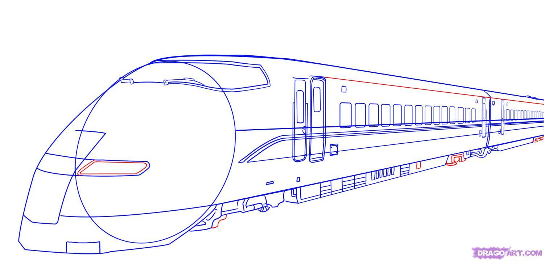 Рисуем скоростной поезд - шаг 7