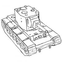 советский тяжёлый танк КВ-2 карандашом