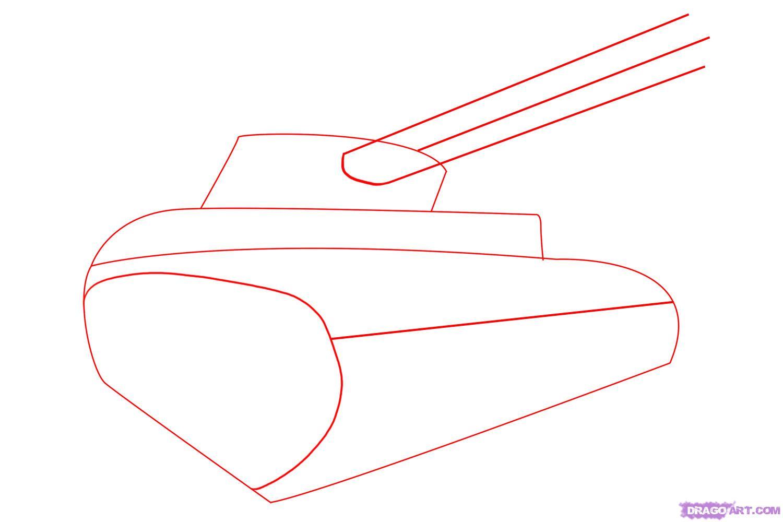 Рисуем танк тигр  для начинающих - шаг 1