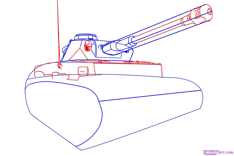 Рисуем танк тигр  для начинающих - шаг 3