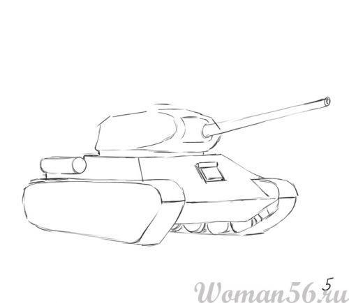Рисуем танк Т-34  (подробный урок) - шаг 5