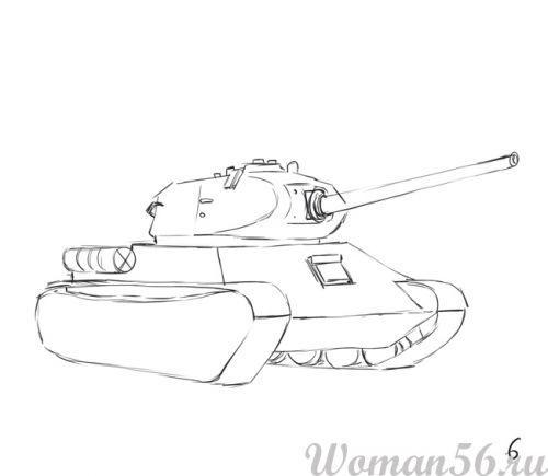 Рисуем танк Т-34  (подробный урок) - шаг 6