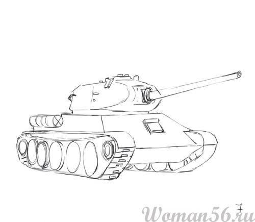 Рисуем танк Т-34  (подробный урок) - шаг 7