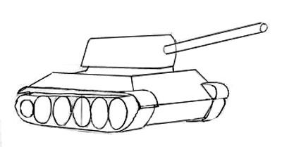 Учимся рисовать танк Т-34 и Т-34-85 - шаг 3