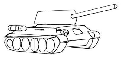 Учимся рисовать танк Т-34 и Т-34-85 - шаг 4