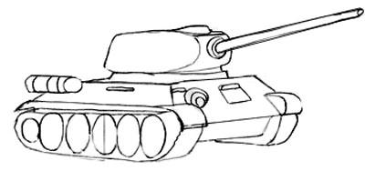 Учимся рисовать танк Т-34 и Т-34-85 - шаг 5
