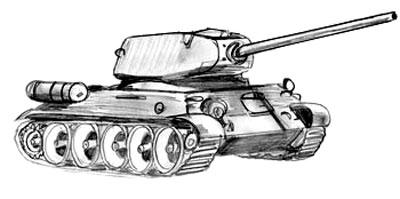 Учимся рисовать танк Т-34 и Т-34-85 - шаг 7