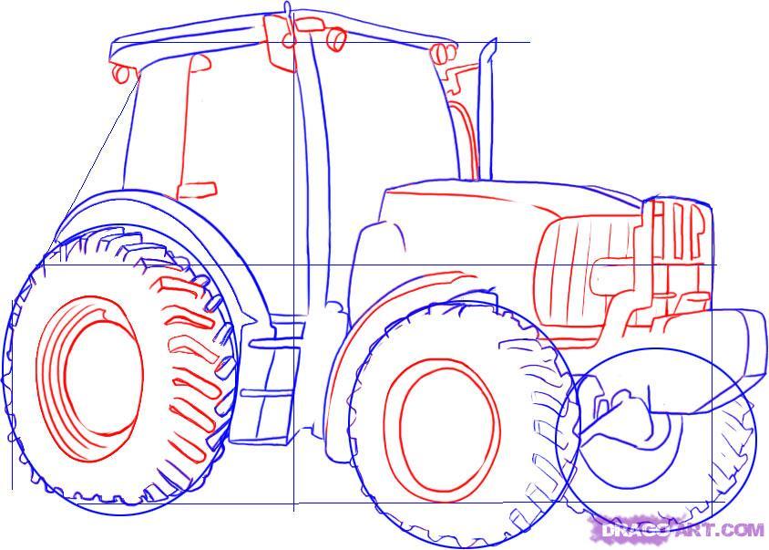 Рисуем Трактор - шаг 3