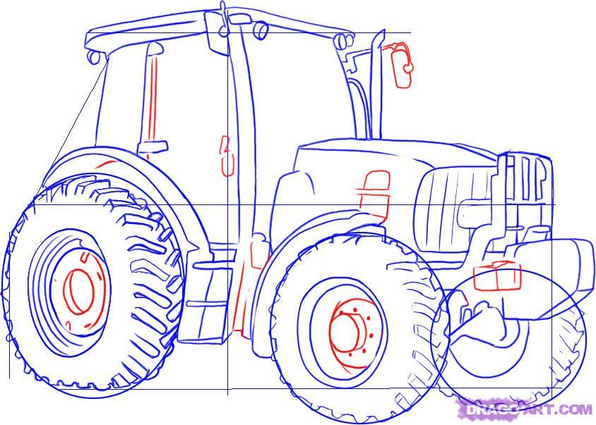 Рисуем Трактор - шаг 4