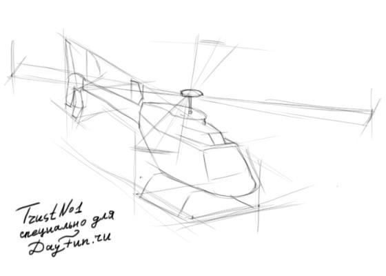Рисуем вертолет - шаг 2