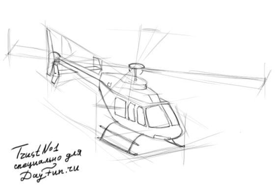 Рисуем вертолет - шаг 3