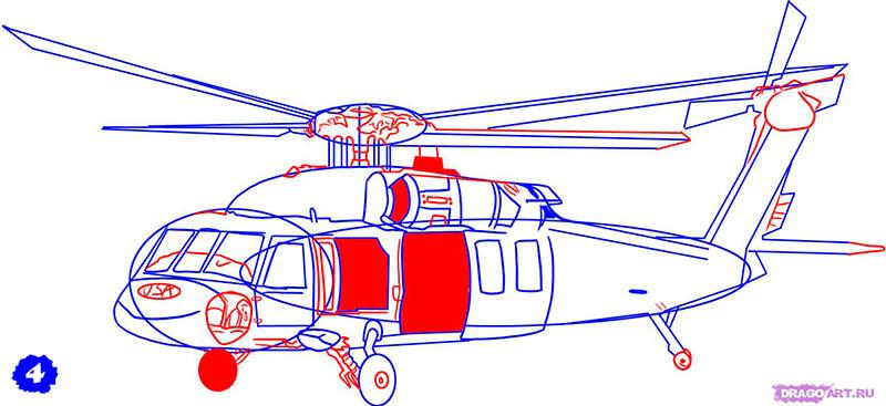 Рисуем военный вертолет AH - 1 Cobra - шаг 4