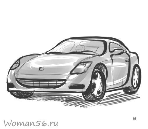 Как рисовать машину на бумаге