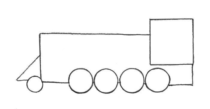 Учимся просто рисовать паровоз - шаг 1