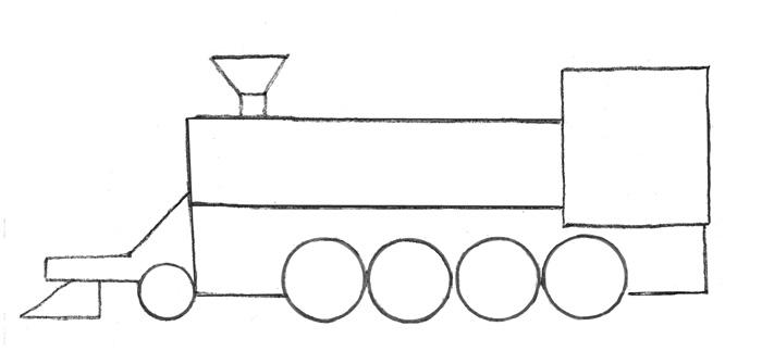 Учимся просто рисовать паровоз - шаг 2