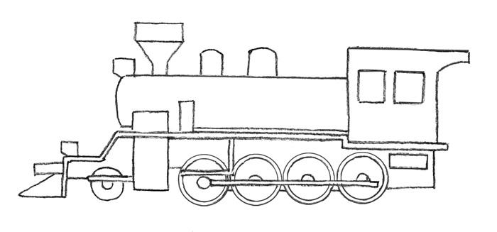 Учимся просто рисовать паровоз - шаг 3