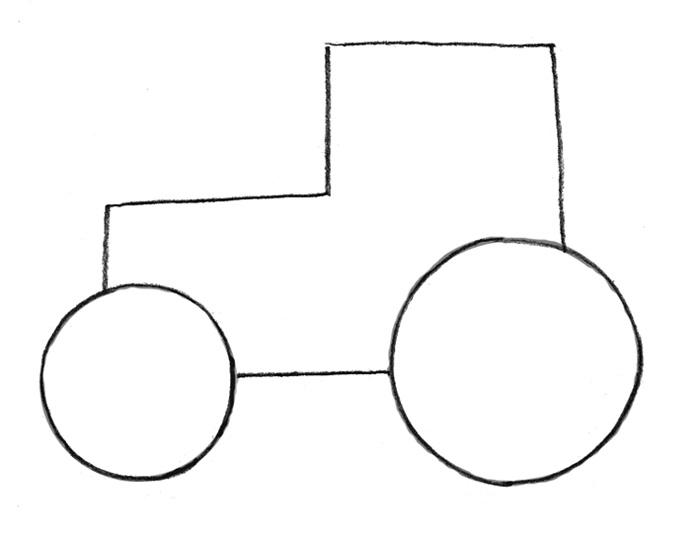Как легко и просто нарисовать Трактор - шаг 1