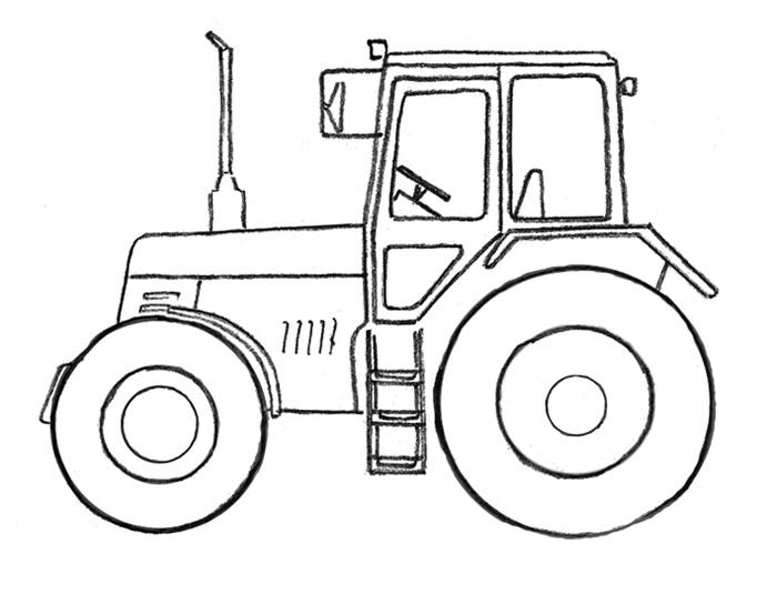 Как легко и просто нарисовать Трактор - шаг 3