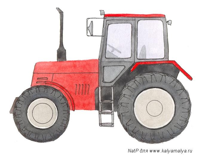 Как легко и просто нарисовать Трактор - шаг 4