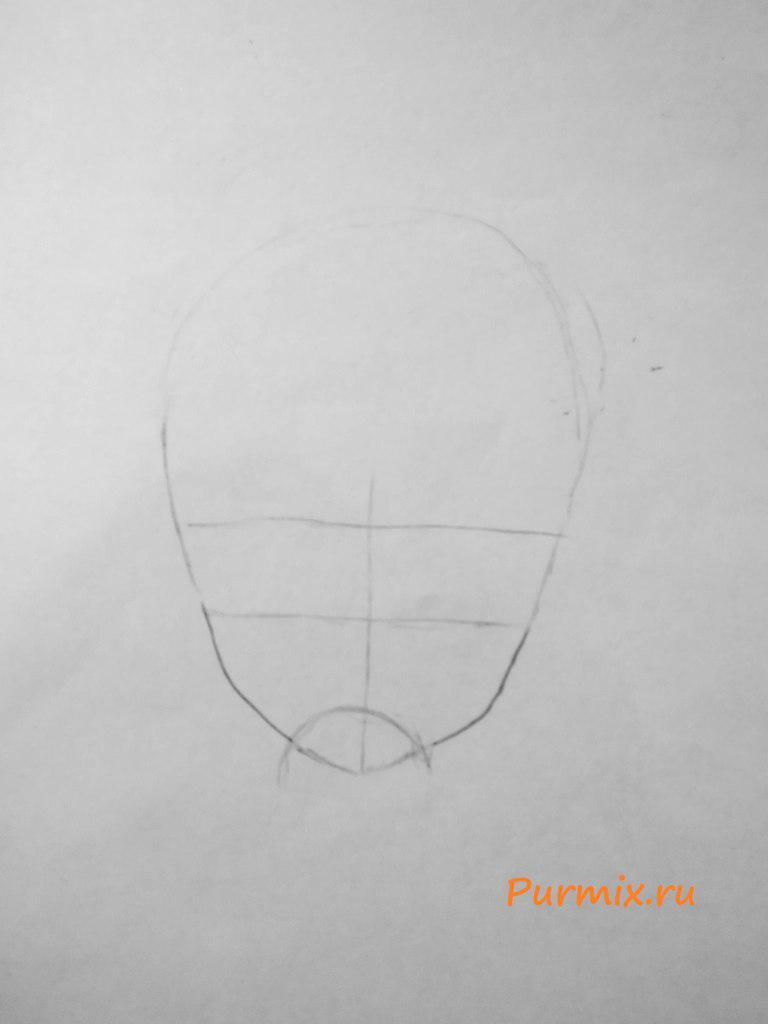 Рисуем аниме ведьмочку на хэллоуин простым - шаг 1