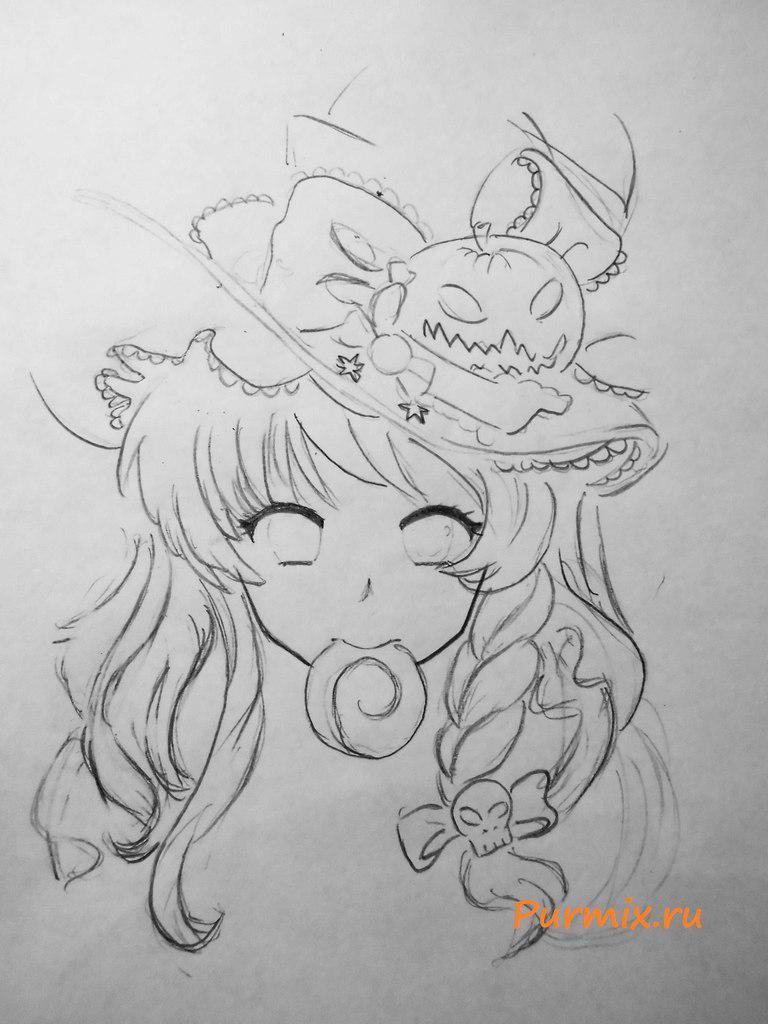 Рисуем аниме ведьмочку на хэллоуин простым - шаг 3