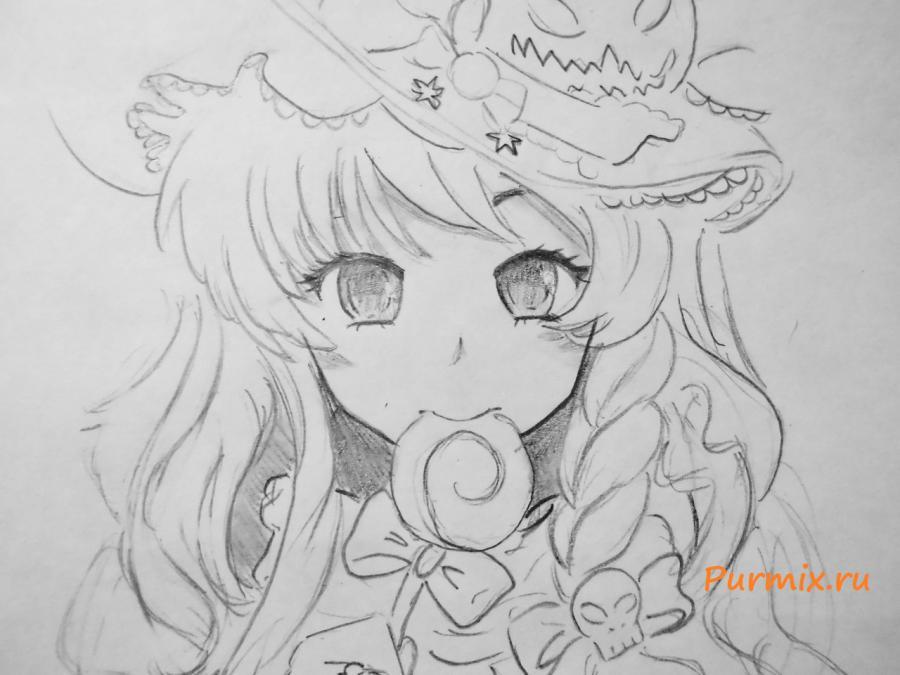 Рисуем аниме ведьмочку на хэллоуин простым - шаг 5