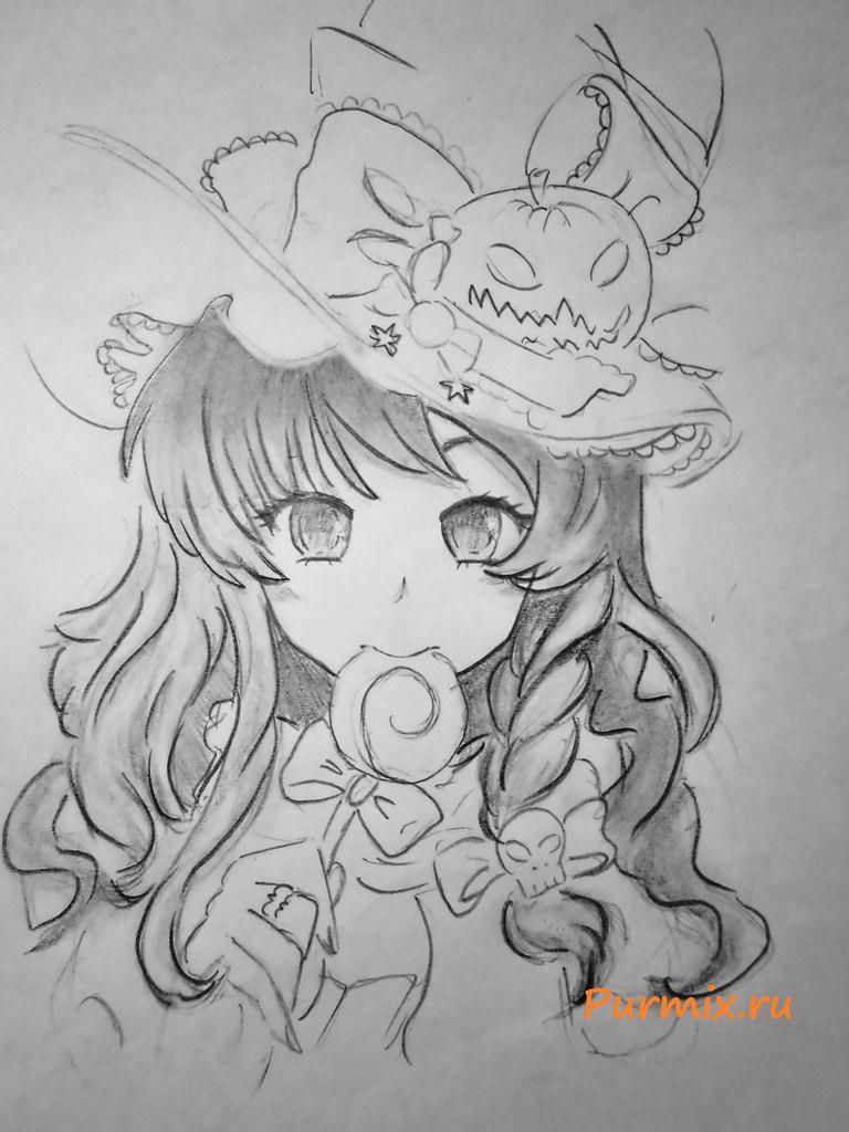 Рисуем аниме ведьмочку на хэллоуин простым - шаг 6