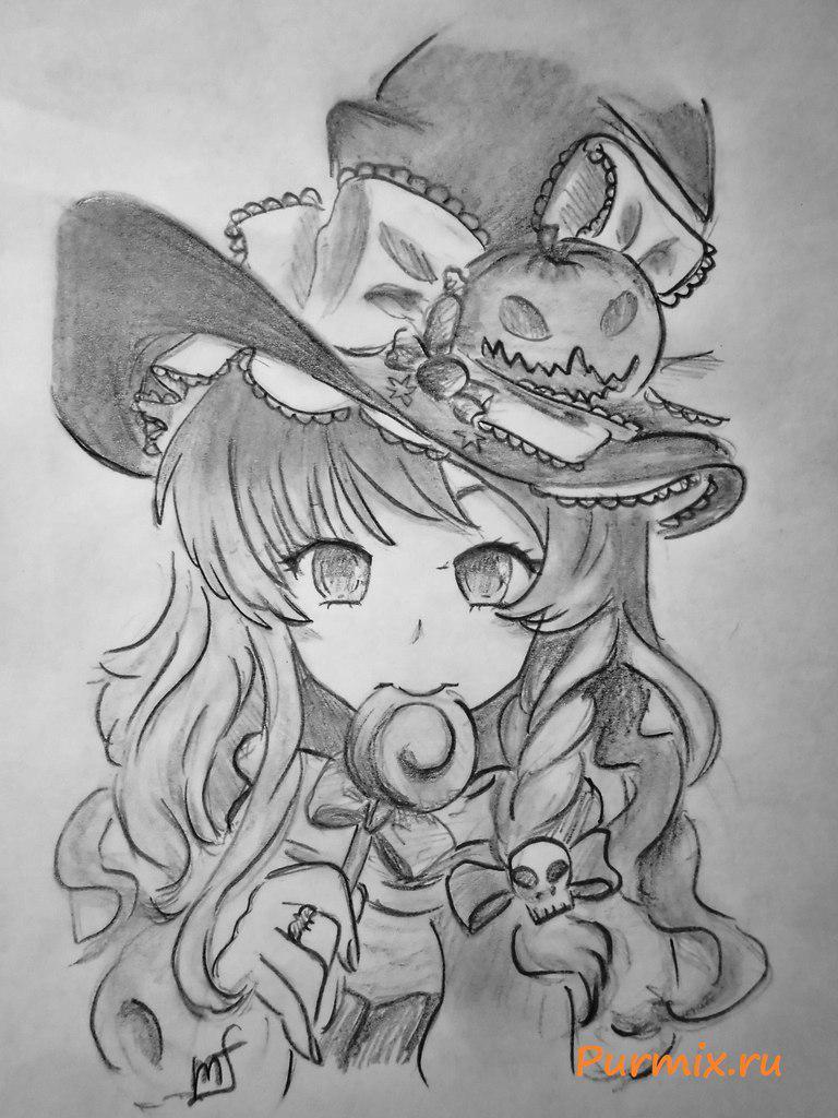 Рисуем аниме ведьмочку на хэллоуин простым - шаг 7