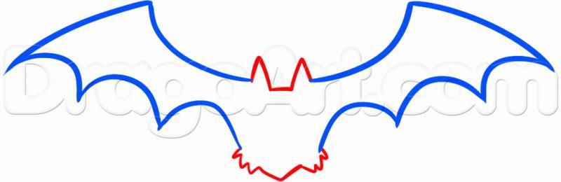 Рисуем летучую мышь на Хэллоуин карандашами - шаг 2