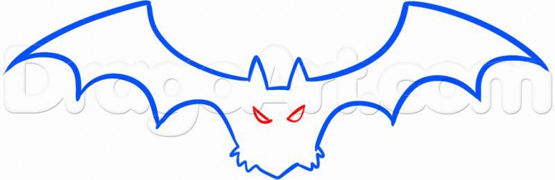 Рисуем летучую мышь на Хэллоуин карандашами - шаг 3
