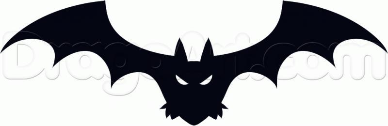 Рисуем летучую мышь на Хэллоуин карандашами - шаг 4