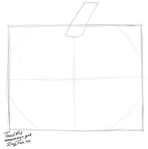Рисуем тыкву на хэллоуин - шаг 1