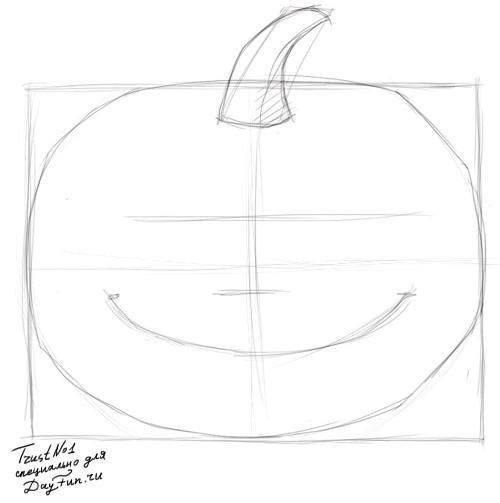 Рисуем тыкву на хэллоуин - шаг 2