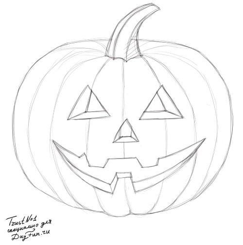 Рисуем тыкву на хэллоуин - шаг 3