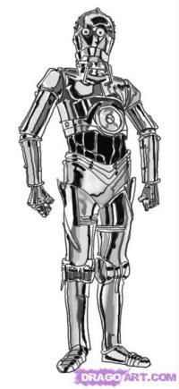 Фото Си-Три-Пи-О (C-3PO) из Star Wars  карандашом