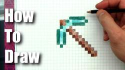 Фото Алмазную кирку из Minecraft по клеткам