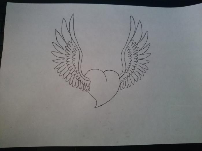 картинки как нарисовать сердце с крыльями красивые таким элементом