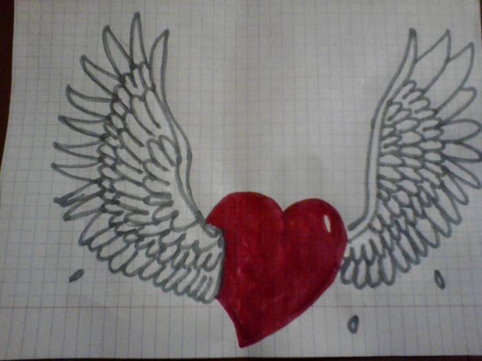 картинки как нарисовать сердце с крыльями красивые группы
